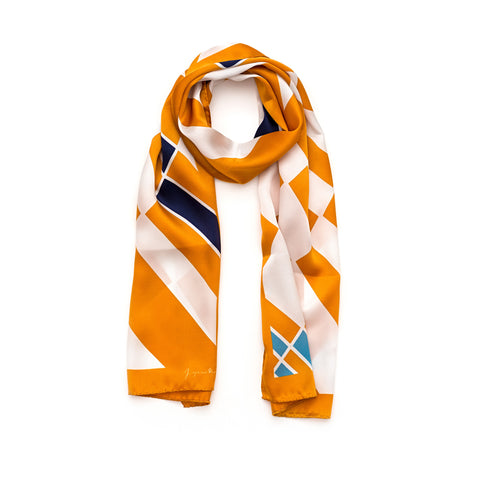 Long Orange Cocktail Silk Scarf