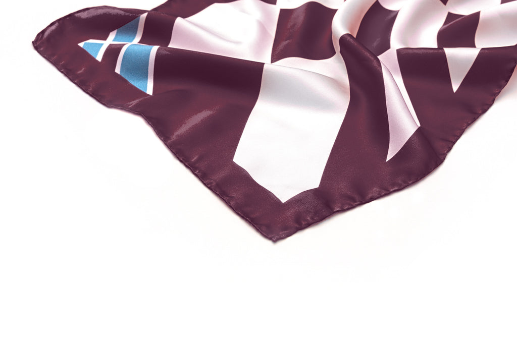 Long Cherry Cocktail Silk Scarf
