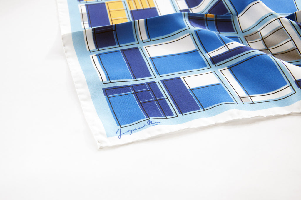 Light Blue Rooms Silk Pocket Square