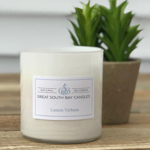 Lemon Verbena soy candle in glass tumbler with lid