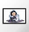 Poster Game of Thrones - Chibi Jon Snow & Ghost com moldura preta