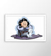 Poster Game of Thrones - Chibi Jon Snow & Ghost com moldura branca