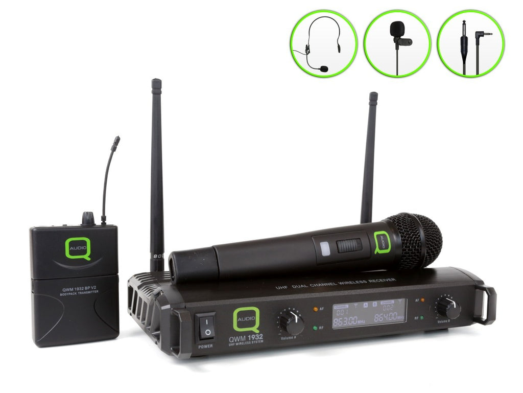 Q-Audio QWM 1932 V2 UHF Wireless Microphone System Handheld & Body Pack