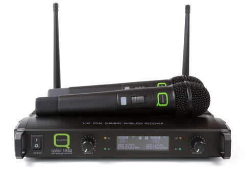 Q-Audio QWM 1932 V2 UHF Twin Wireless Microphone System