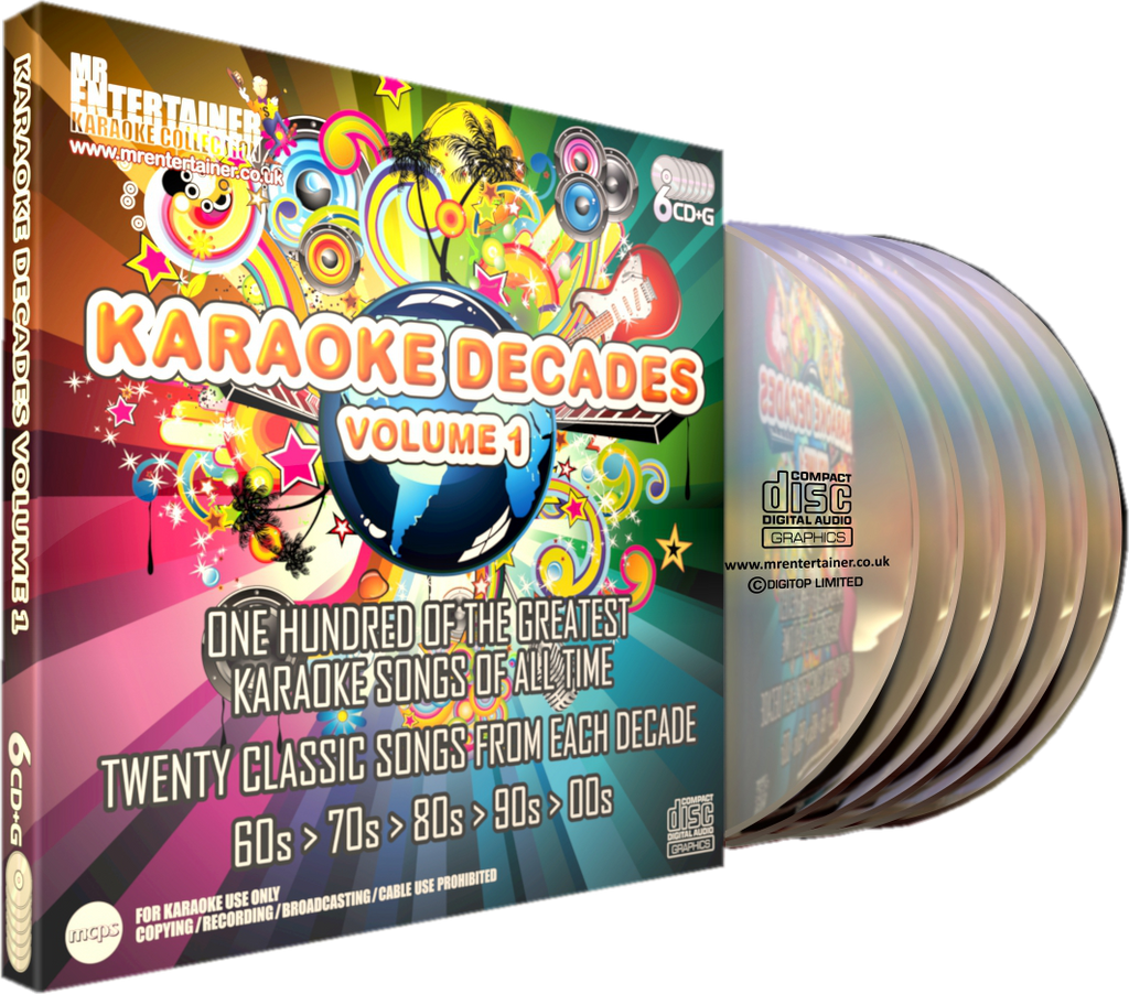 Mr Entertainer Karaoke Decades Vol. 1 - 100 Song 6 Disc CD+G Set