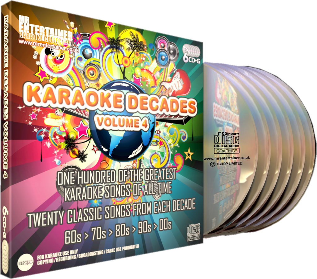 Mr Entertainer Karaoke Decades Vol. 4 - 100 Song 6 Disc CD+G Set