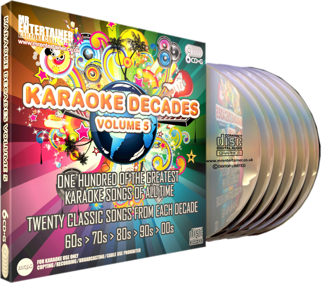 Mr Entertainer Karaoke Decades Vol. 5 - 100 Song 6 Disc CD+G Set