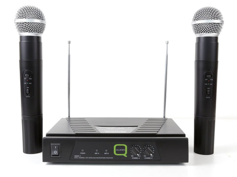 Q-Audio QWM 11 Twin channel VHF Wireless Microphone System