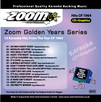 Zoom Karaoke ZGY64 Golden Years 1964