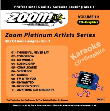 Zoom Karaoke ZPA019 Platinum Artists Avril Lavigne