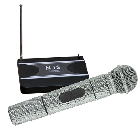 NJS Silver Crystal Effect BLING VHF Radio Microphone System