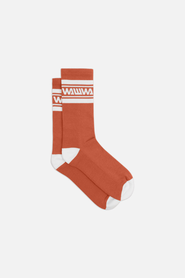 Rust + White Organic Sport Socks