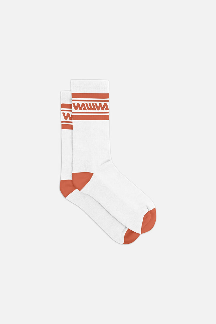 White + Rust Organic Sport Socks