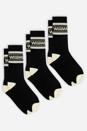 3 Pack Black Organic Socks