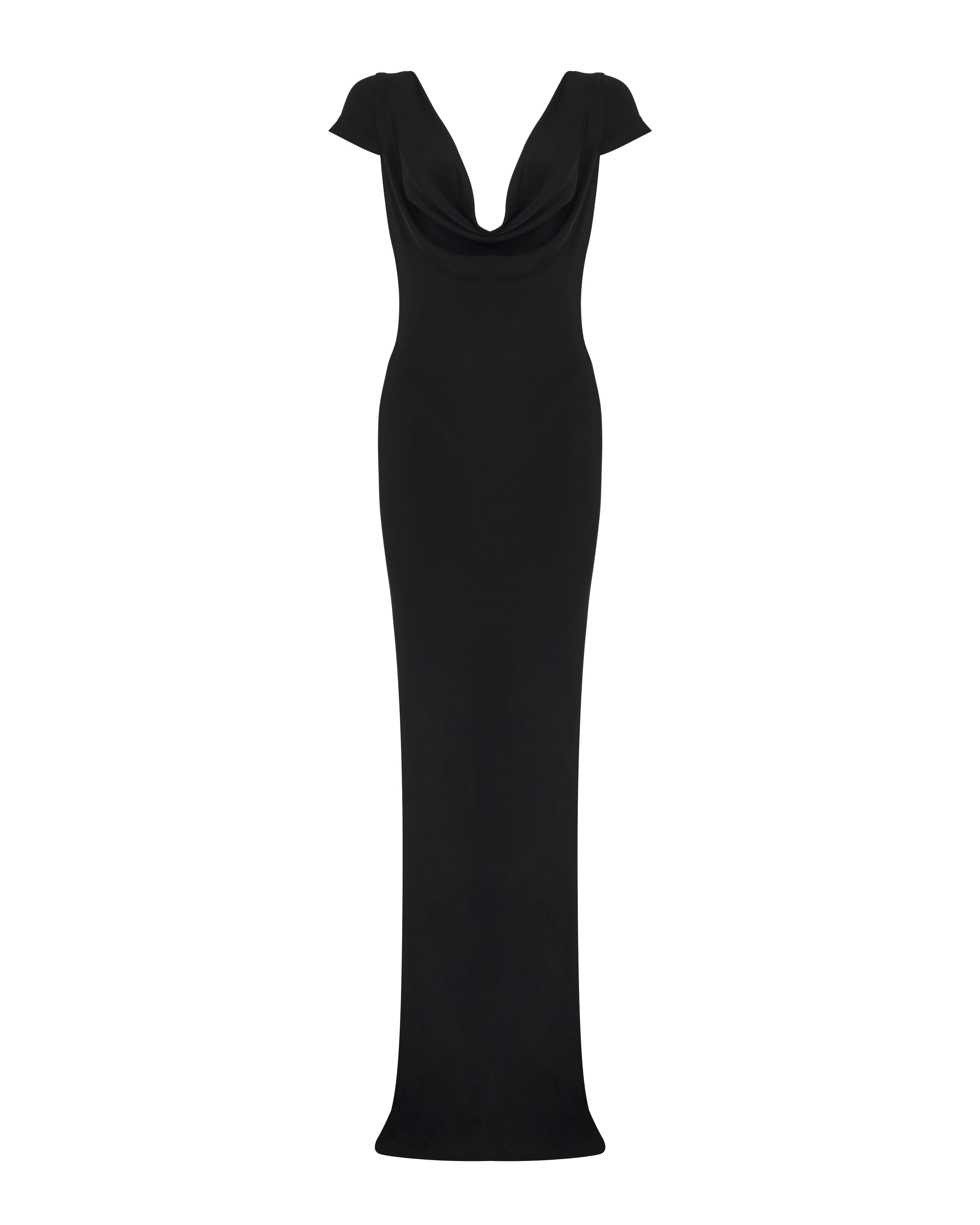 Capsleeve Gown - Black