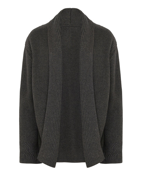 Shawl Neck Cardigan Charcoal