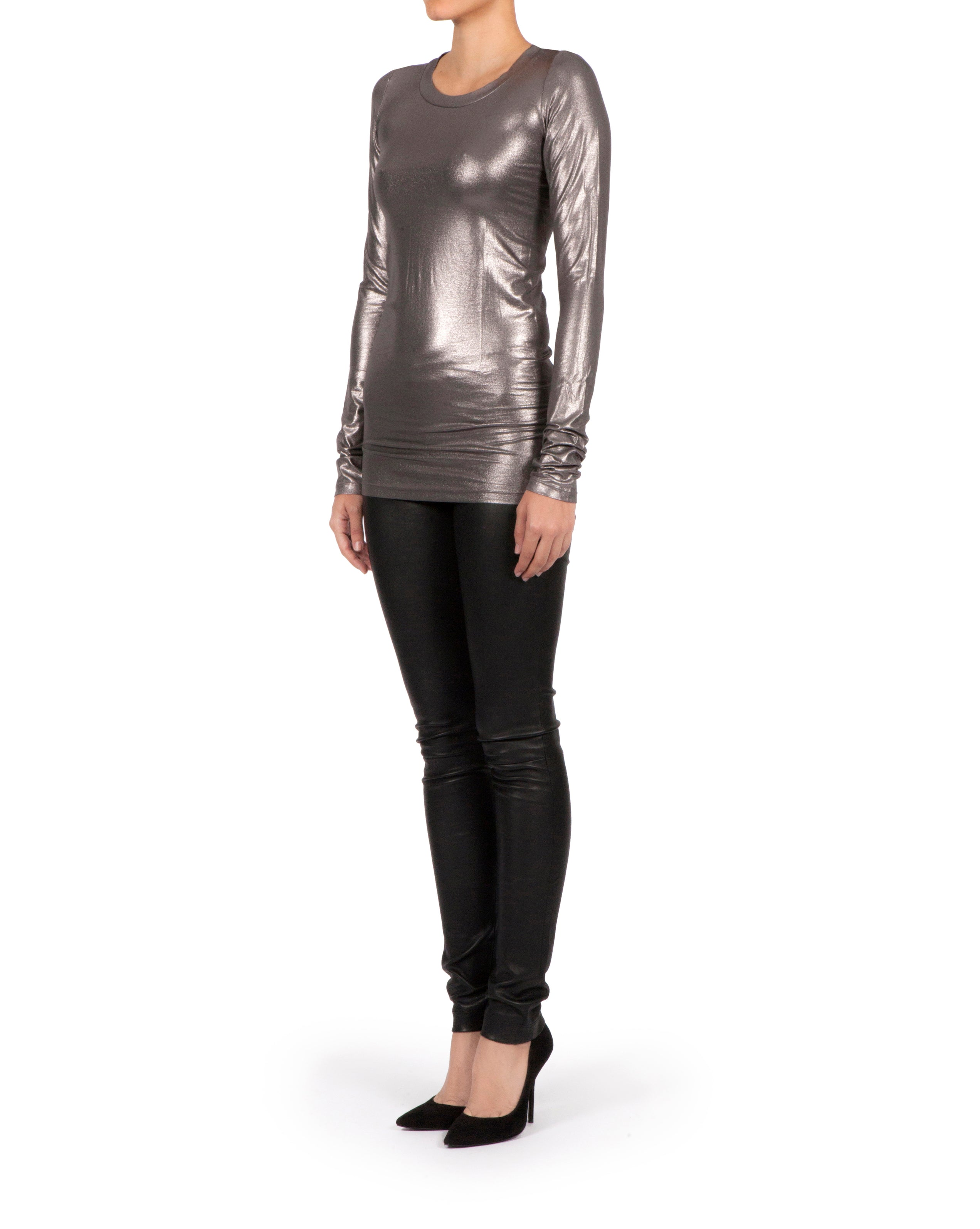 Amore T-shirt Long Sleeve - Metallic Silver