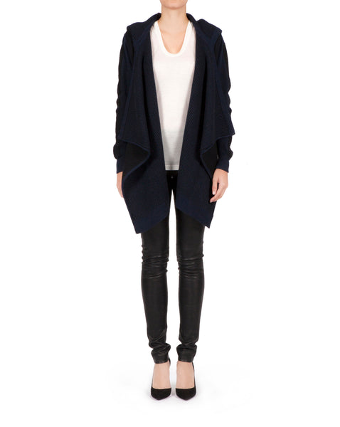 Float Knit Sleeveless Wrap Hood Cardigan - Navy Cashmere x Black