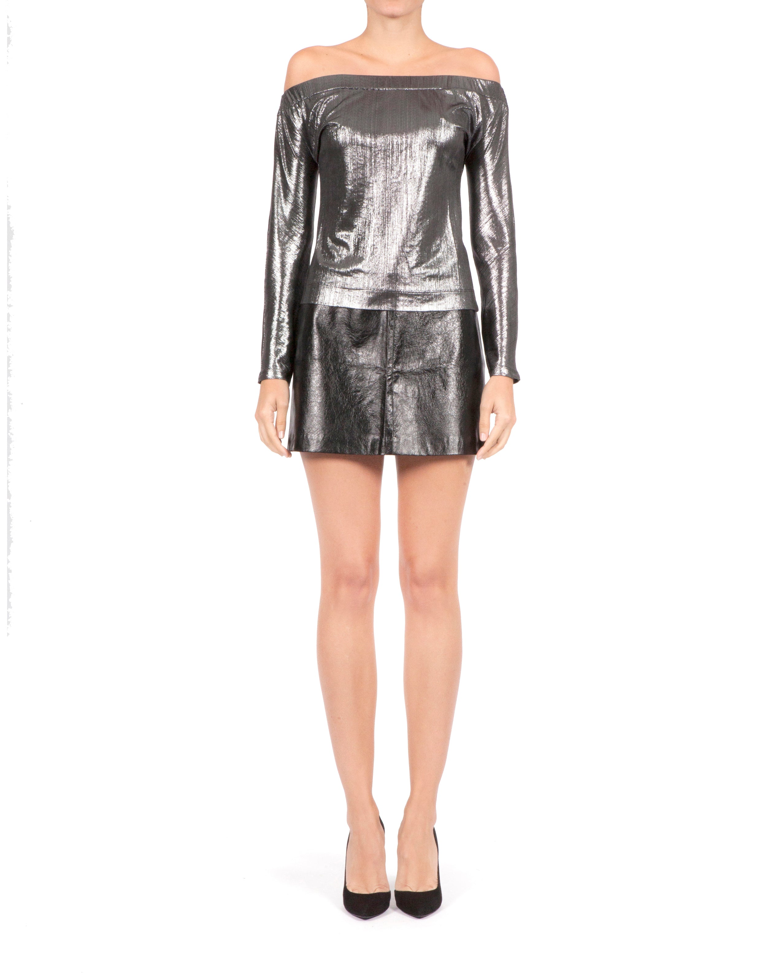 Toni Leather Mini Skirt - Black