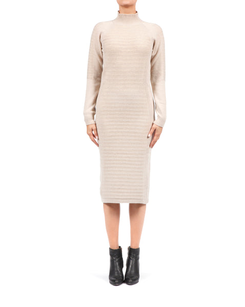 Rib Knit Long Dress - Beige Cashmere x Lurex