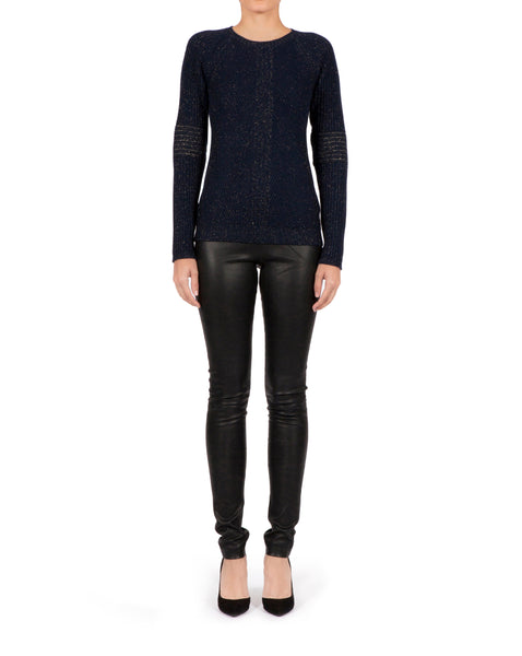 Rib Regular Sweater - Navy Cashmere x Lurex