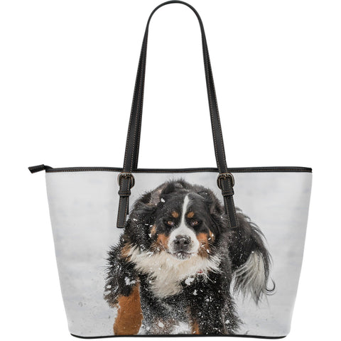 BERNESE MOUNTAIN DOG LEATHER TOTE BAG