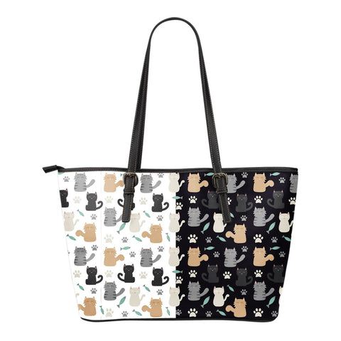 CAT PRINT SMALL LEATHER TOTE BAG