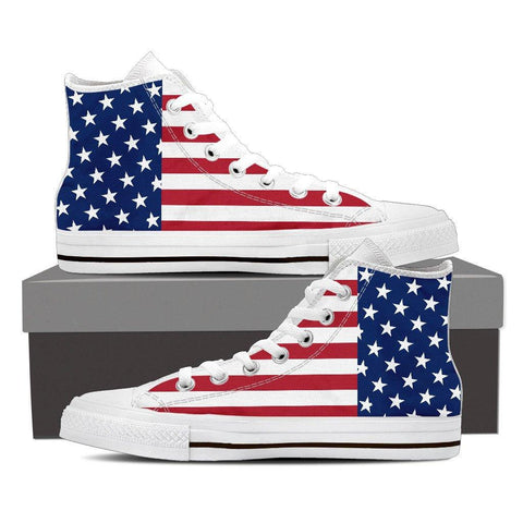 Men's American Flag White High Top Canvas Shoes