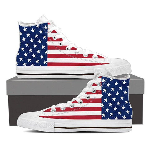 Women's American Flag White High Top Canvas Shoes