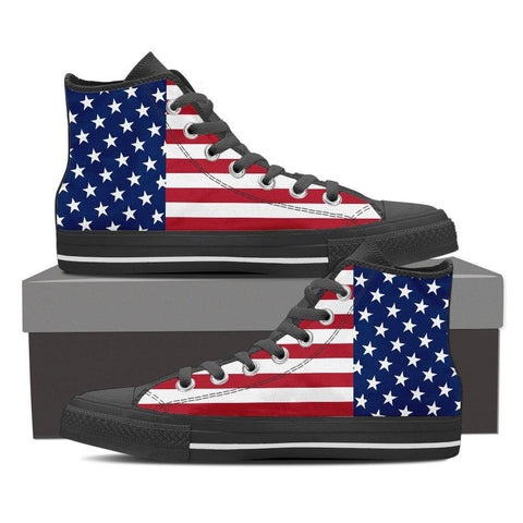Women's American Flag High Top Canvas Shoes