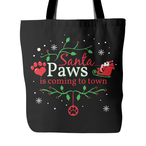 CHRISTMAS TOTE SANTA PAWS IS COMING TO TOWN