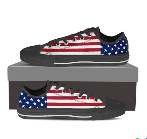 STARS & STRIPES WOMEN'S LOW TOP SHOES (BLACK)