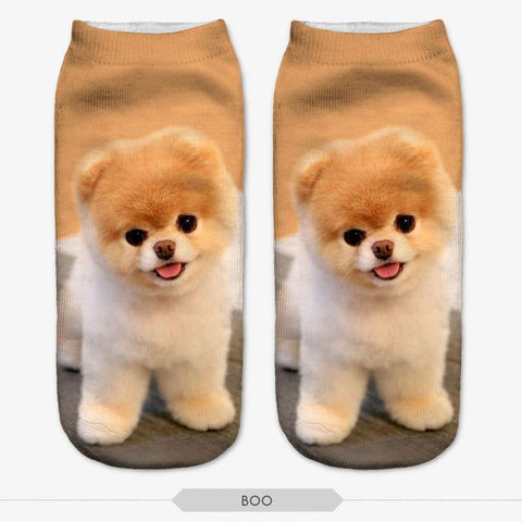 3D Dog Print Low Cut Ankle Socks Style 2