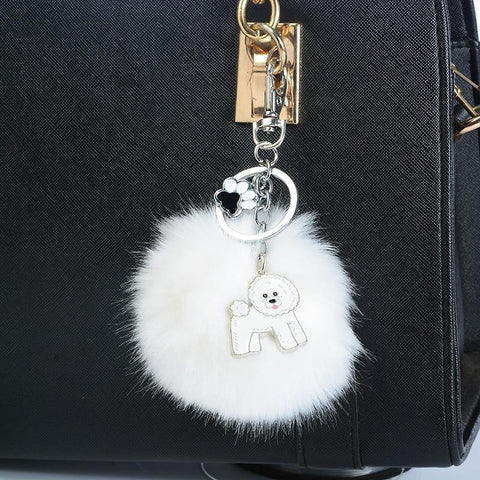 BICHON FRISE POMPOM KEYCHAIN - TSP Top Selling Products