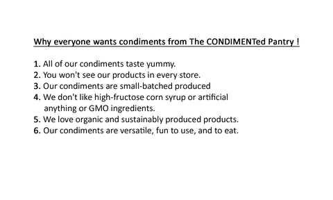 Why everyone wants condiments