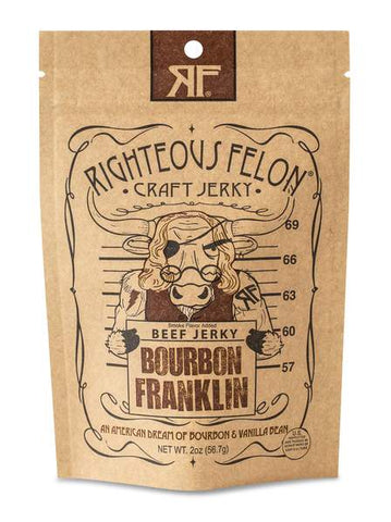 Righteous Felon Bourbon Franklin Craft Beef Jerky - The Condimented Pantry