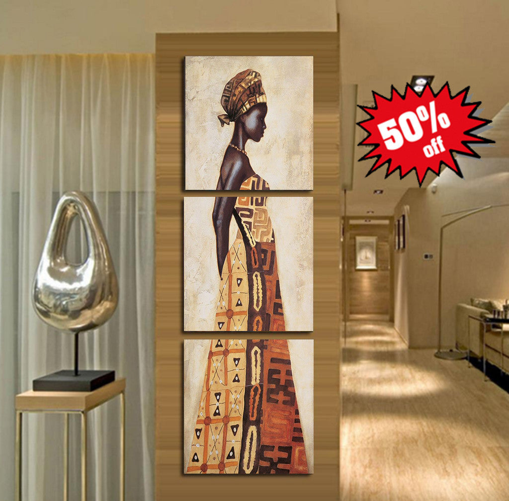 African Women Art 3 Piece FRAMED Canvas Set!
