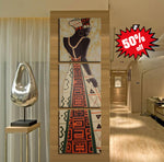 Beautiful Framed African Art 3 Piece Canvas Print Set!
