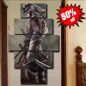 EPIC Samurai Art 5 Piece FRAMED Canvas. Ready to hang!