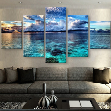 Shallow Ocean 5 Piece FRAMED Canvas Set!