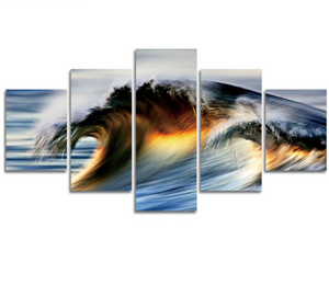 Wave in the Ocean 5 Piece FRAMED Canvas Set!