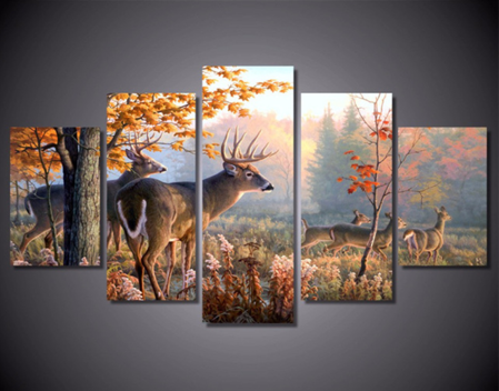 Deers in Forest 5 Piece FRAMED Canvas Set!