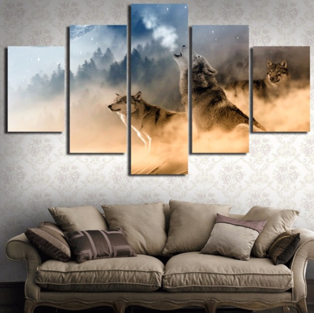 Wolf 5 Piece FRAMED Canvas Set!