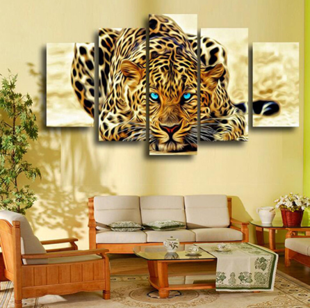 Amazing Leopard 5 Piece FRAMED Canvas Set!