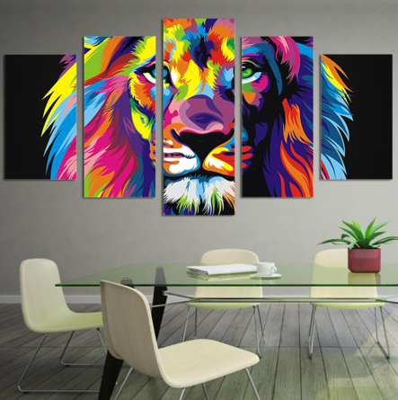 Majestic Lion 5 Piece FRAMED Canvas Set!
