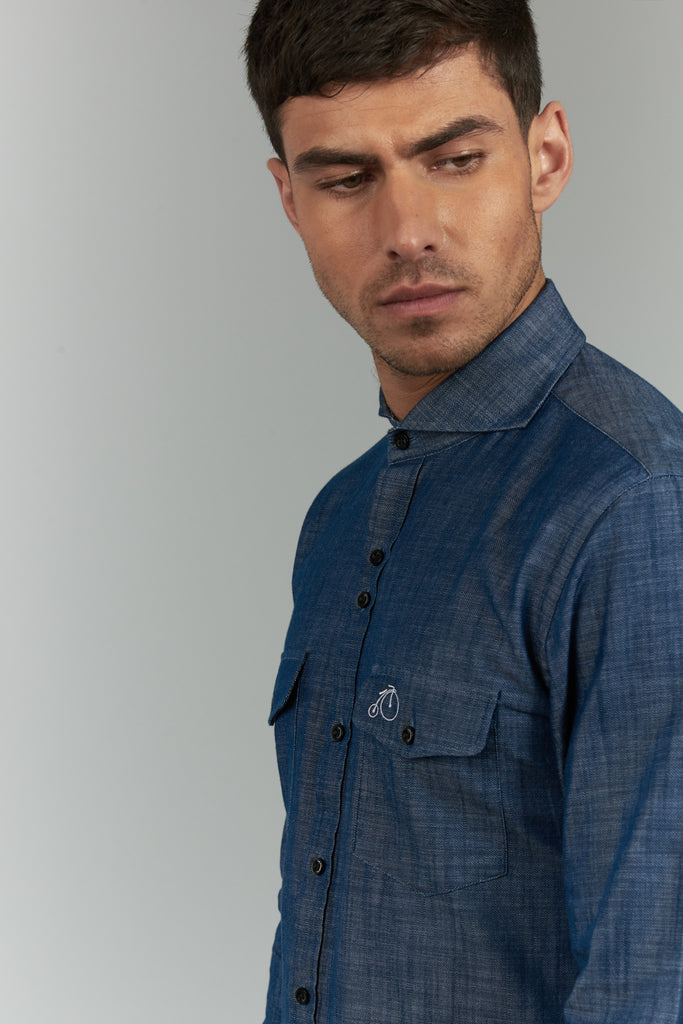Irving | Navy Denim Shirt With Cutaway Collar