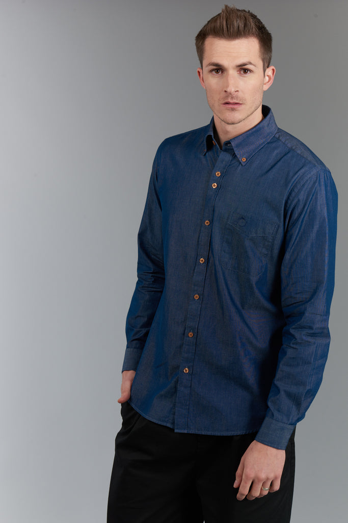 Men's Shirt With Button Down Collar - Chambray - Charcoal