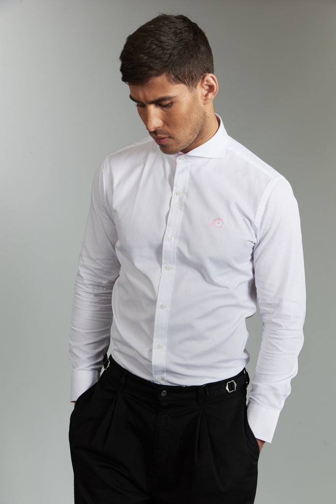 Winston | White Dress Shirt with Cutaway Collar