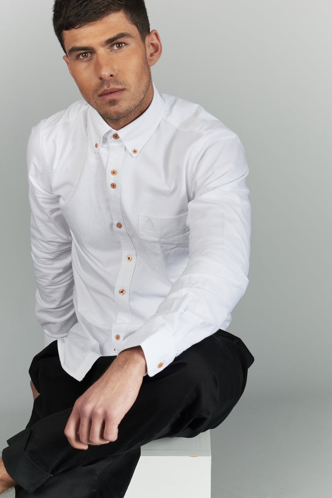 Men's Oxford Shirt 100% Cotton - White - Victor