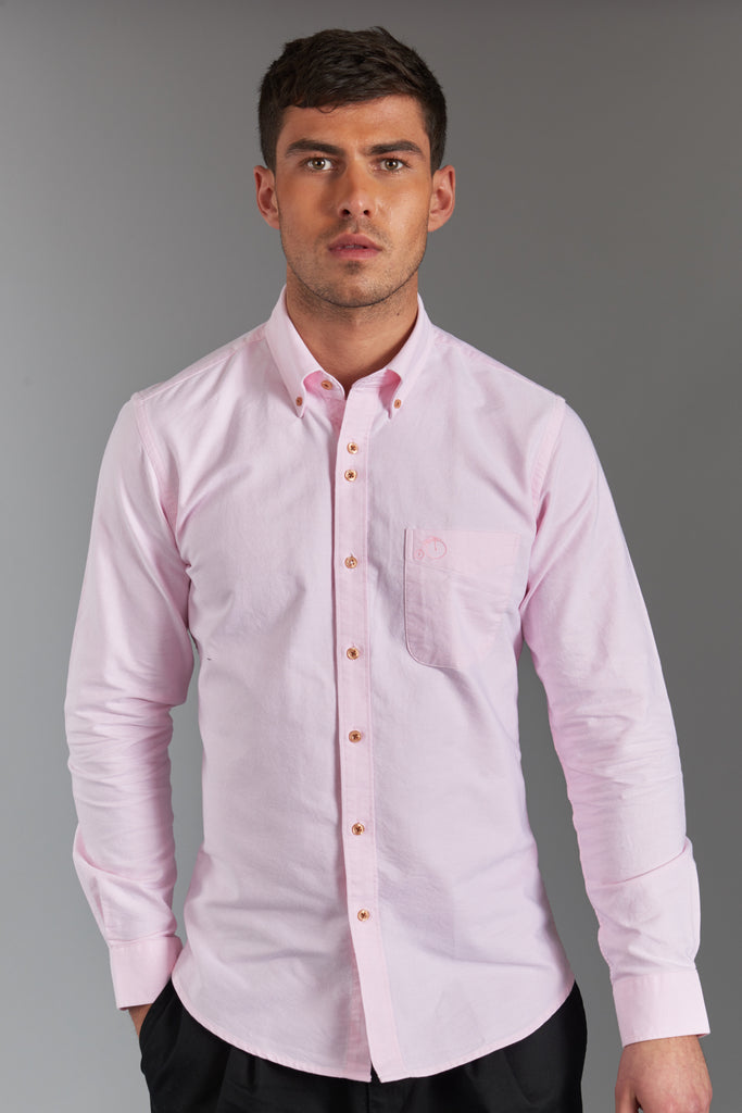 Men's Oxford Shirt 100% Cotton - Light Pink - Victor
